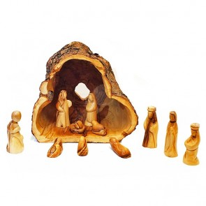 Olive Tree Branch Nativity Log from Bethlehem With Natural Olive Wood Bark - 12 Piece Faceless Set