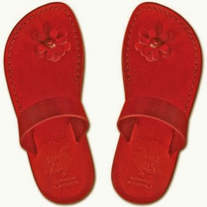 Leather Jesus Sandals - Galilee Lady - Colored Red