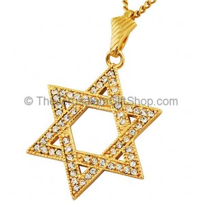 Goldfill Star of David Pendant with multiple Zircon by 'Marina'