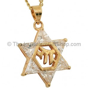 Goldfill Star of David Pendant with 'Chai' and Zircon by 'Marina'