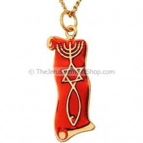Messianic Seal on Scroll Pendant - Wine Red