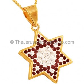 Goldfill Star of David with Red and Clear Zircon Pendant