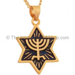 Goldfill Menorah on a Blue Enameled Star of David Pendant by 'Marina'