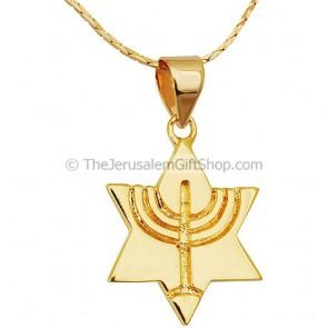 Gold Fill Star of David Menorah Pendant
