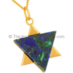 Goldfill Star of David with Azorite Pendant by 'Marina'