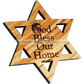 Star of David God Bless Our Home Fridge Magnet