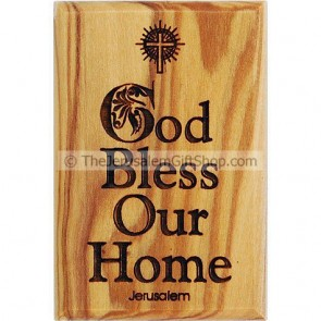 Olive Wood Magnet - God Bless Our Home