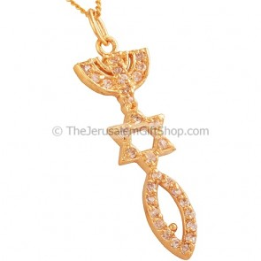 Gold Fill 'Grafted In' Pendant embedded with Zircon by 'Marina'