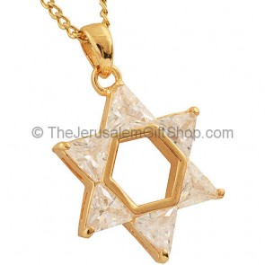 Goldfill Star of David Pendant with clear Zircon by 'Marina'