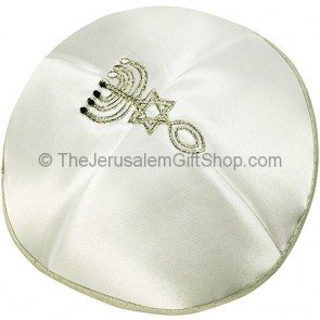 'Grafted In' Messianic Kippah - Silver and White