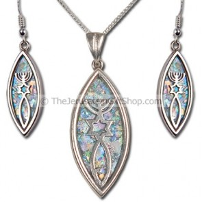 Grafted in Roman Glass Earring and Pendant set