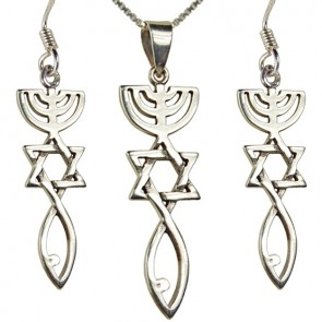 'Grafted In' Messianic Pendant and Earring Set - Sterling Silver