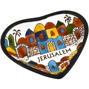 Armenian Ceramic Heart 'Jerusalem' Dish