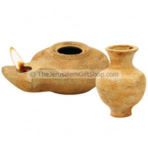 Clay Oil Lamp - Herodian with Jar - Mount Zion