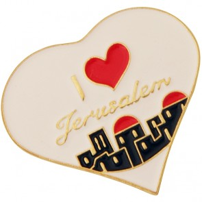 Heart Shaped Lapel Pin with 'I Love Jerusalem' - Jerusalem Heart Badge