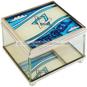 Glass Trinket Box with an Israeli Flag