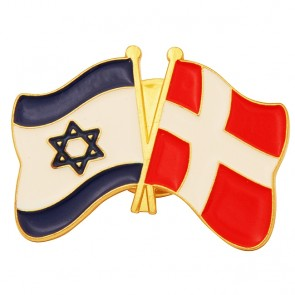 Lapel Pin with Danish and Israeli Flag - Denmark United with Israel Badge