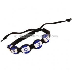 Israel Flag Button Cotton Bracelet - Black