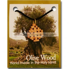 Olive Wood 'Jerusalem Cross' Pendant with Necklace