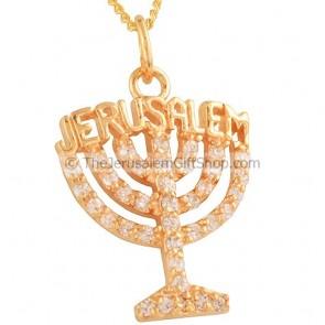 Menorah Pendant with Jerusalem - Goldfill and Zircone