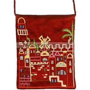 Yair Emanuel Embroidered Jerusalem Silk Bag - Burgundy