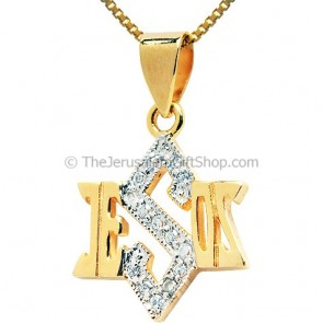 Jesus Star of David Gold Fill Pendant with CZ Stones