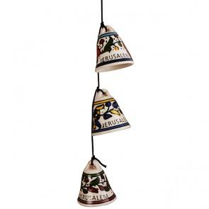 Armenian Ceramic Hanging Jerusalem Chimes - Three Bells