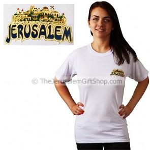Jerusalem with Old City Scene T-Shirt - small print