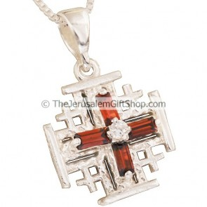 'Jerusalem Cross' Pendant with Scarlet Cross Design