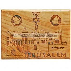 Olive Wood Magnet - Jerusalem Messianic