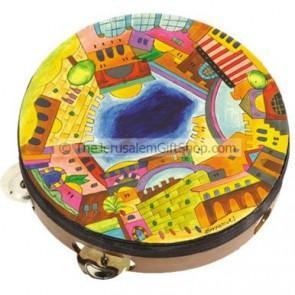 Handpainted Jerusalem Tambourine