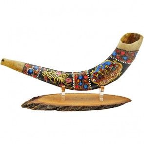 Ram's Decorated Shofar By Artist Sarit Romano - Old City of Jerusalem and Her Walls - Earth