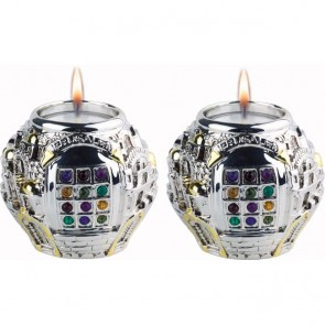 Pair of Jerusalem Hoshen Candleholders