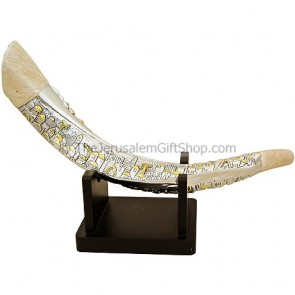Silver Jerusalem Yemenite Shofar with Stand