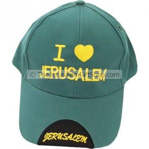 Baseball Cap - I Love Jerusalem - Green