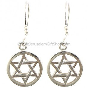 Sterling Silver Star of David within Circle Earrings