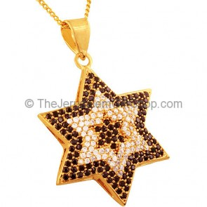 Goldfill Star of David with Black and Clear Zircon Pendant by 'Marina'
