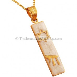 Goldfill Mezuzah Pendant with 'Chai' and a Star of David by 'Marina'