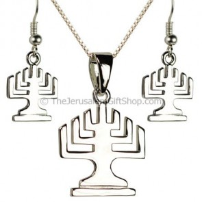 Menorah Pendant and Earring set