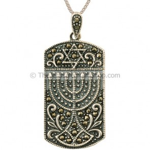 Menorah Star of David Marcasite Pendant