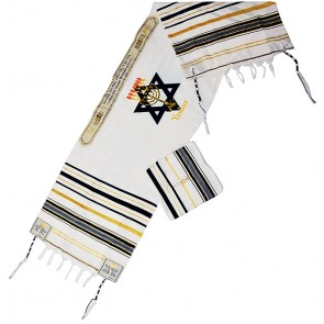 YESHUA Messianic Prayer Shawl Scripture Talit with 'Grafted In' - Black and Gold