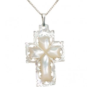Mother of Pearl Carved Cross Pendant