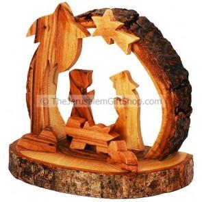 Nativity Scene Ornament with Bark