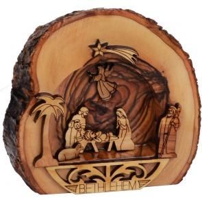 Bethlehem Olive Wood Nativity Scene Ornament with Bark