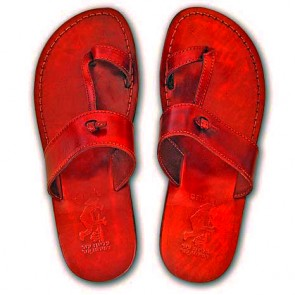 Leather Jesus Sandals - Nazareth Style - Colored - Red