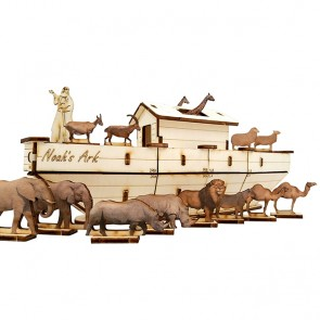Wooden Noah's Ark Set | DIY Wood 3D Puzzle | Educational Self Assembly Craft | Made in the Holy Land