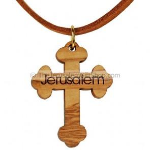 Olive Wood Cross Pendant - Jerusalem