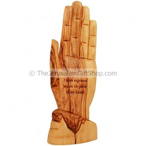 God's Hand - Engraved in the Palm Of - Olive Wood