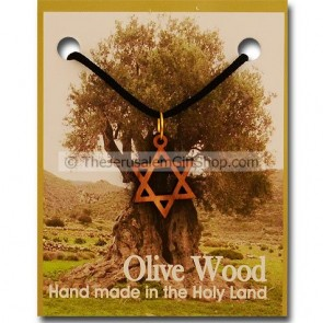 Olive Wood 'Star of David' Pendant with Necklace