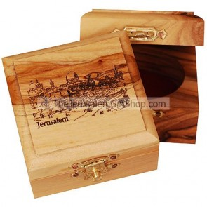 Small Olive Wood Jerusalem Western Wall Box